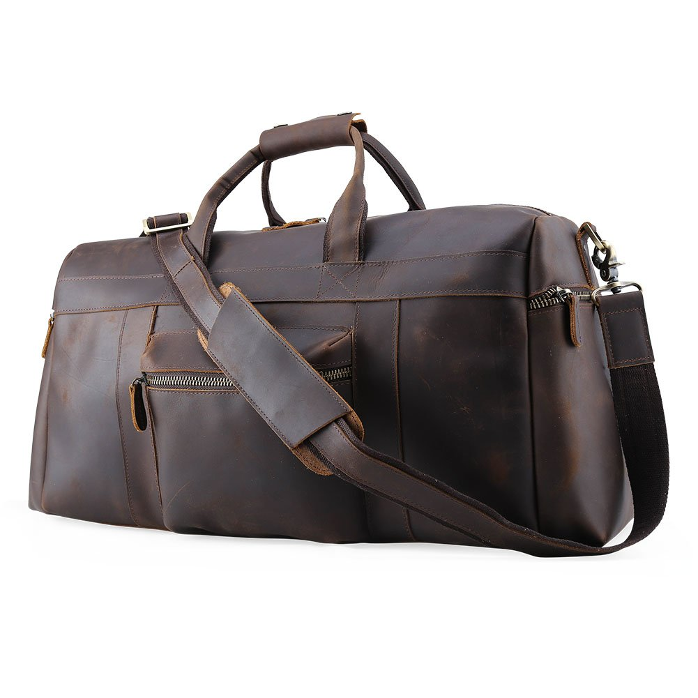 Tiding Men's Brown Crazy Horse Leather Vintage Luggage Tote Bag 10984 by Tiding