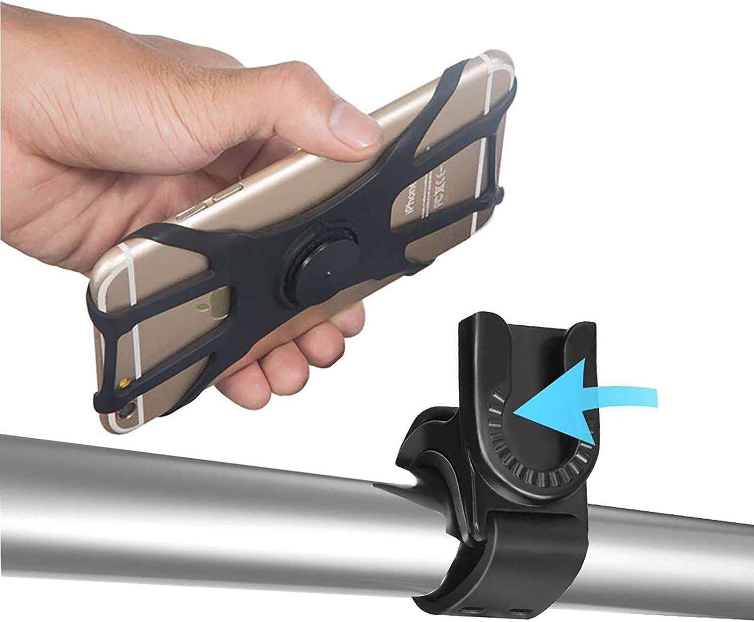 ORIbox Bike Phone Mount, Removable Bicycle Phone Holder Handlebar, Compatible with iPhone 12/11 Pro Max XS Max XR X 8 7 6S Plus SE 2020 12 Mini,Samsung Galaxy,Black