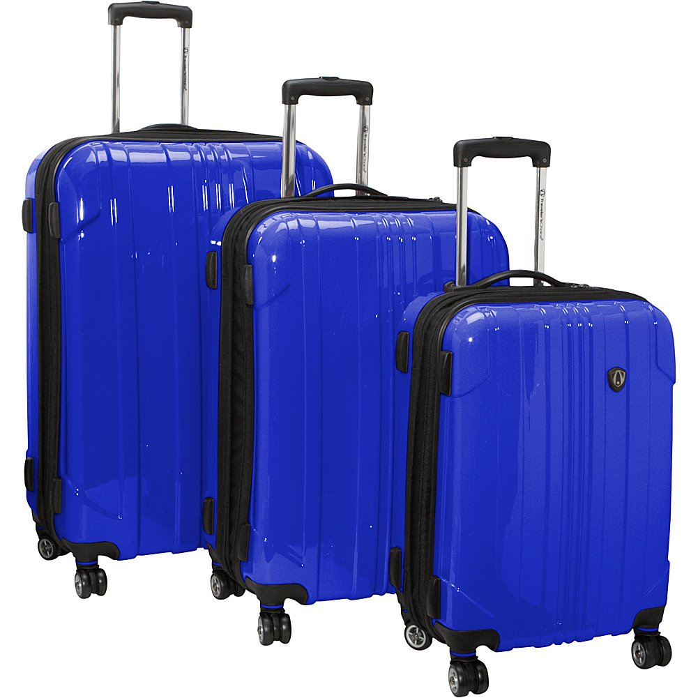 Traveler's Choice Sedona 8-Wheels Polycarbonate Hardside Expandable Spinner 3-Piece Luggage Set, Blue (21''/25''/29'') by Traveler's Choice