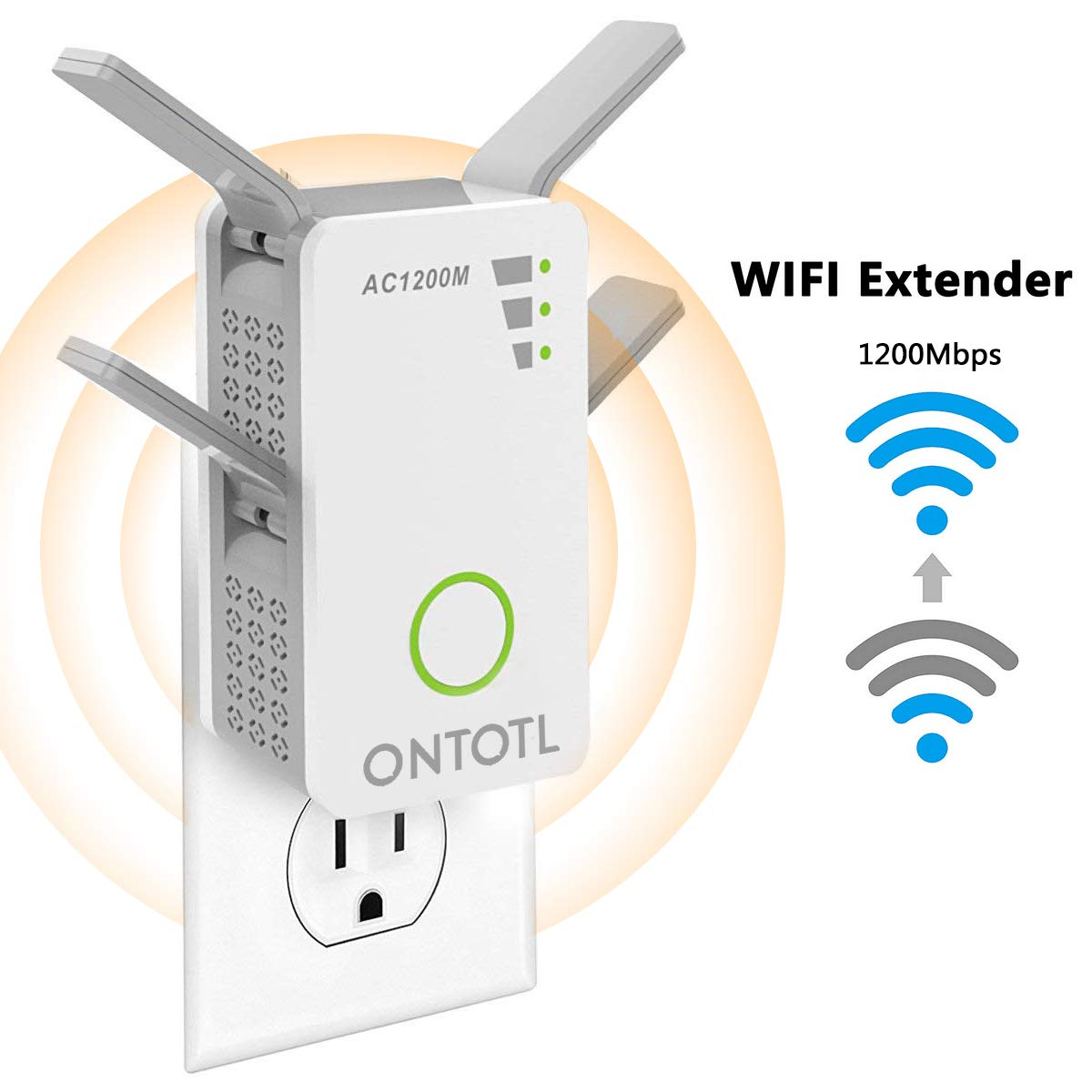 WiFi Range Extender Wireless Repeater,ONTOTL 1200Mbps WiFi Extender Internet Signal Booster with 4 External Antennas,Full Coverage WiFi Signal Amplifier Dual External Band Available 2.4GHz and 5GHz