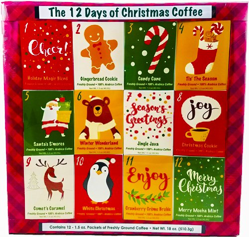 Christmas Sampler Gift 12 Days of Coffees, Teas or Cocoas (Hot Chocolate) for Christmas Gourmet Gift Box Set - Best Xmas Present For Friends, Family, Corporate, Coworkers, or Teachers (Coffee) Gourmet Christmas Tea