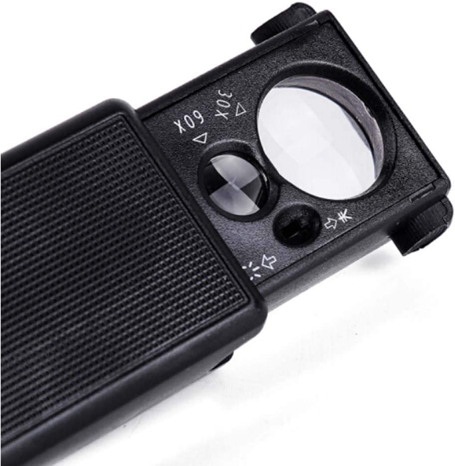 Portable Jewelers Eye Loupe Magnifier Coins Stamps Magnifying Glass 30x 60x with UV Led Light Handy Pocket Magnifier for Map