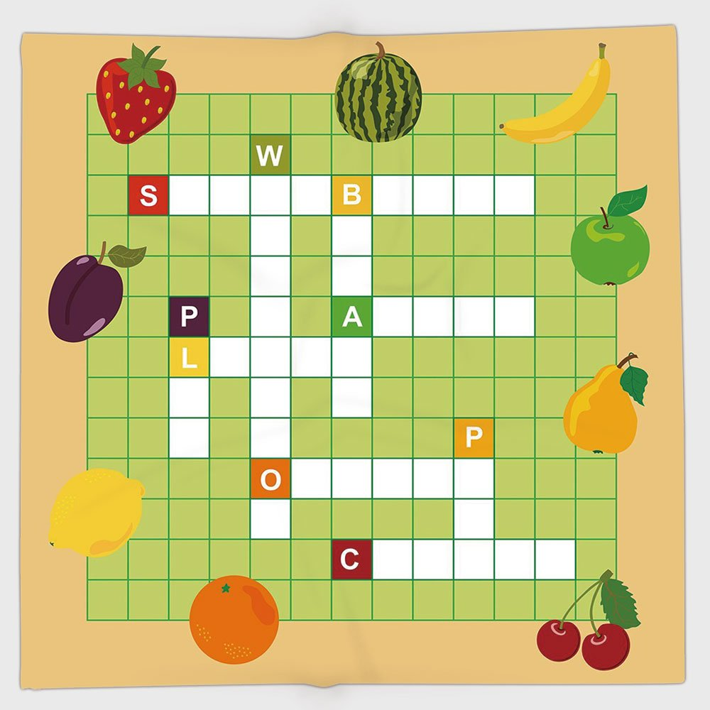 Cotton Microfiber Hand Towel,Word Search Puzzle,Vivid Graphic Summer Fruits with Educational Crossword Game for Kids Decorative,Multicolor,for Kids, Teens, and Adults,One Side Printing