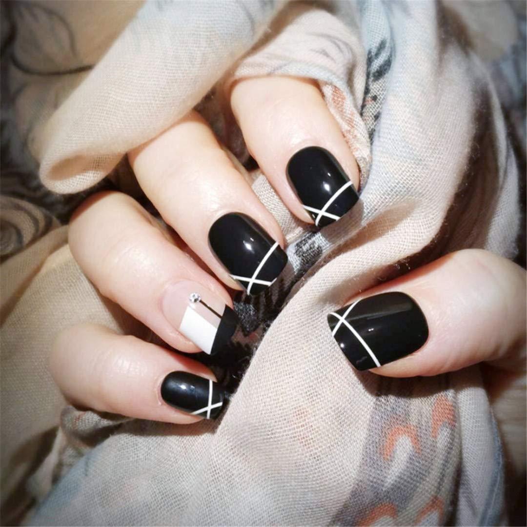 Amazon.com  24 Pcs Black White Fake Press On Nails With