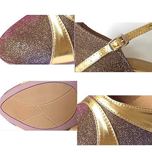 XUE Women's Latin Shoes Modern Shoes/Ballroom Shoes/Summer/Synthetic/Sparkling Glitter High Heel Indoor/Practice/Beginner Buckle/Party & Evening Silver, Gold (Color : A, Size : 38) B