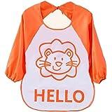 Ularma Bébé Long manchon étanche alimentation Bib Art tablier belle Cute Cartoon bavoirs pour bébé auto alimentation (orange)