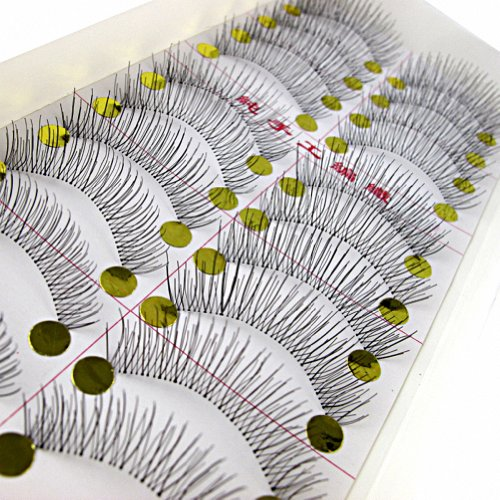 MapofBeauty 10 Pairs Of Handmade Natural Long And Thin Makeup False Eyelashes (Black-#01)