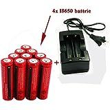 AC充電器 + 4本セット 3000mAh 18650 3.7V 充電式リチウムイオン電池 戦術懐中電灯 電池,充電池 保護回路付き