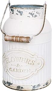Joqixon Rustic Metal Vase Vintage Milk Can Flower Vase Galvanized Jug Primitive Flower Vase Country Rustic Pitcher Vase Farmhouse Decor