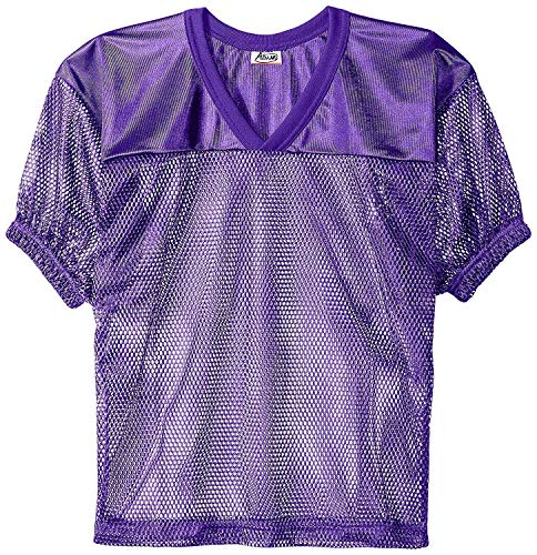 Purple Jersey Football - Adams USA FB Youth Jersey with Elastic Sleeve, Purple, L