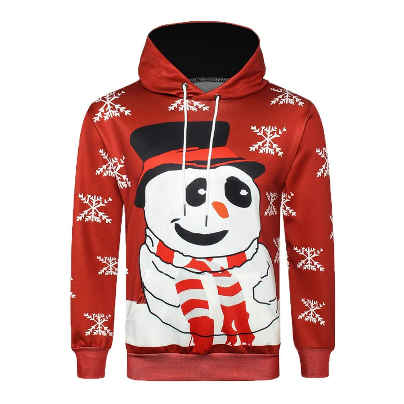 Sweatshirt Homme Coat for Men Automne Hiver Noë L 3D Impression Manches Longues Hommes Capuche Top Sweatershirt HCFKJ-Js