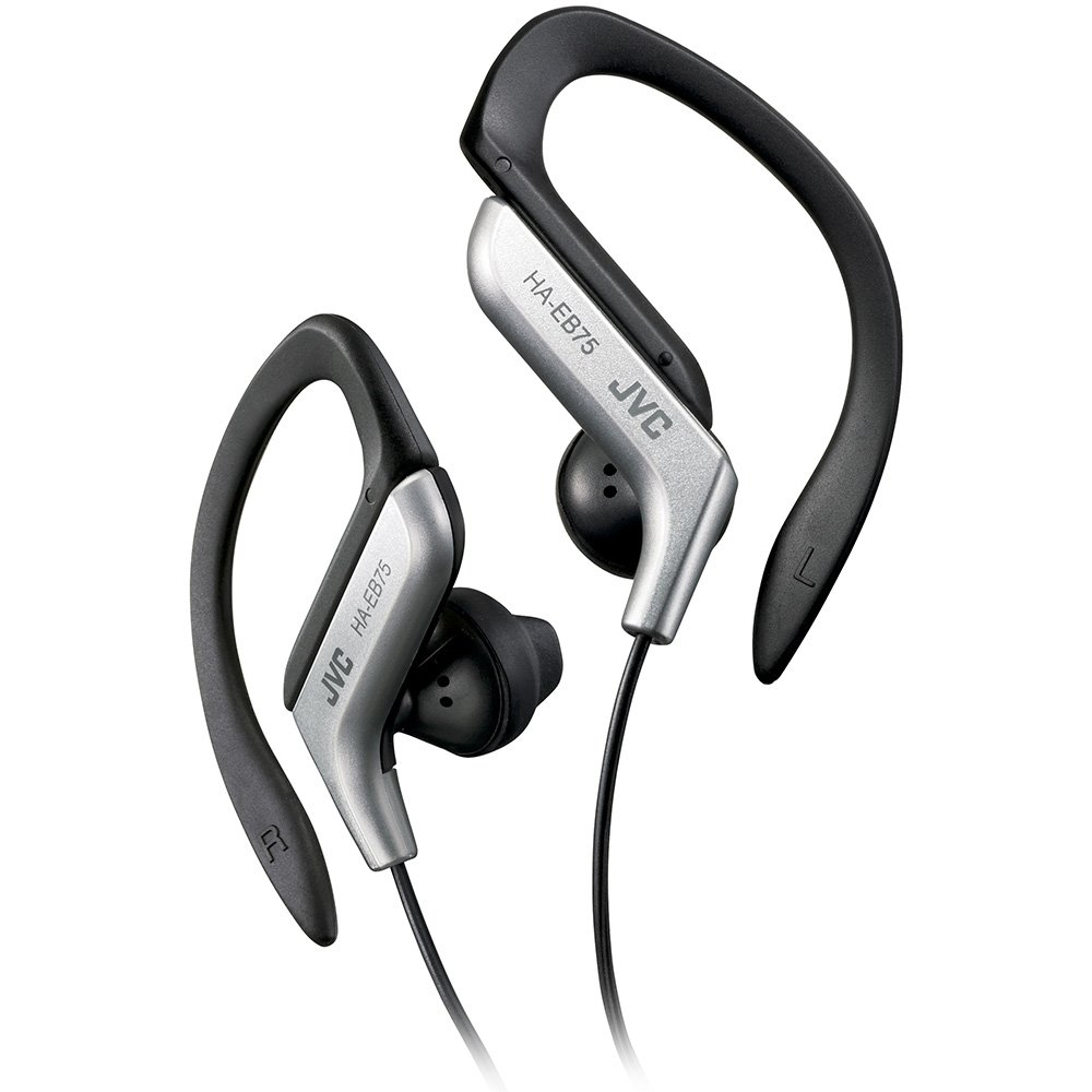 Clip Style Headphone Silver and Black Lightweight and Comfortable Ear Clip. Splash Proof Water resistant Powerful Sound with Bass Boost JVC HAEB75BA