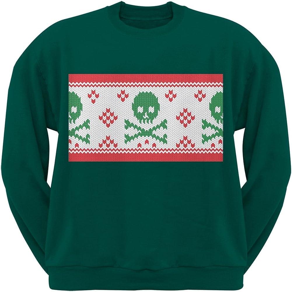 Old Glory Knit Skull and Crossbones Ugly Christmas Sweater Dark Green Adult Sweatshirt