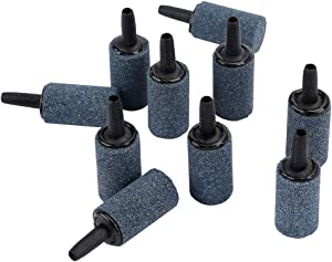 Pawfly 1 Inch Air Stone 10 Pieces Cylinder Bubble Diffuser Airstones for Aquarium Fish Tank Pump Grey/Blue