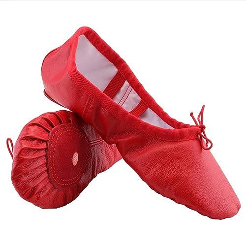 Dreamone Ballettschuhe Kinder Ballettschläppchen Mädchen Ledersohle Schläppchen Ballerina Damen Turnschläppchen