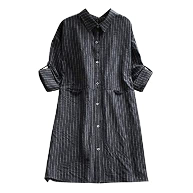 4d86fccbc79 DEATU Womens Dress Clearance Ladies Casual Long Sleeve Cotton Linen Striped  Dresses with Pockets at Amazon Women s Clothing store