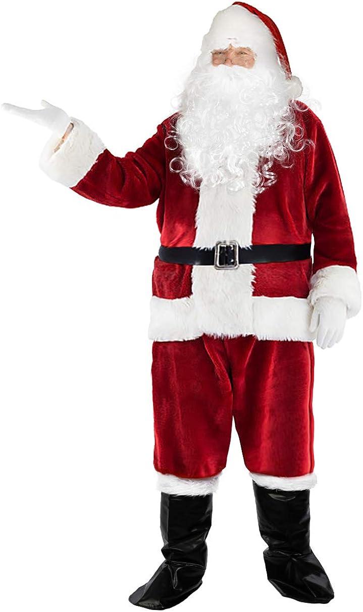 Santa Claus Suit Adult Deluxe Velvet Christmas Costume Fancy Dress Full Set US