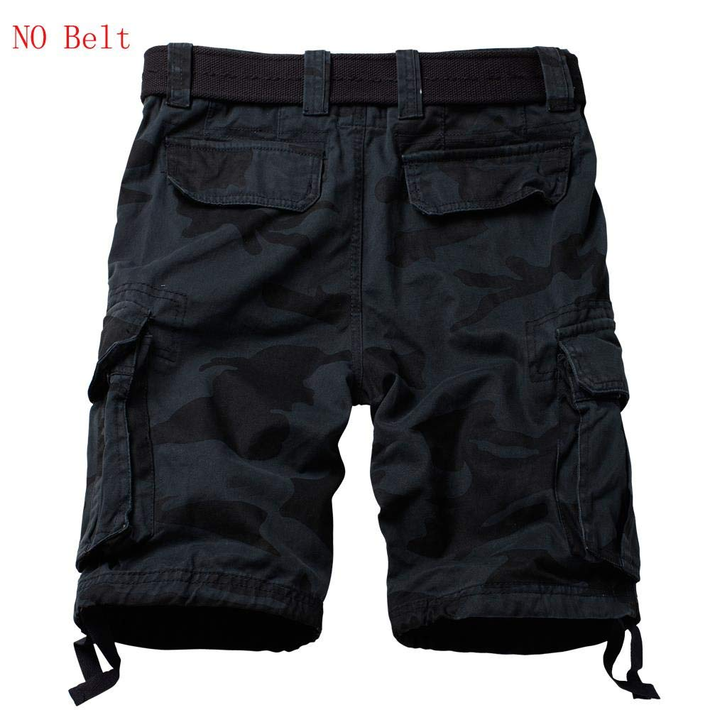 Cargo Washed Shorts SOLID /& CAMO Colors Men/'s Cotton Twill With Belt 32~42