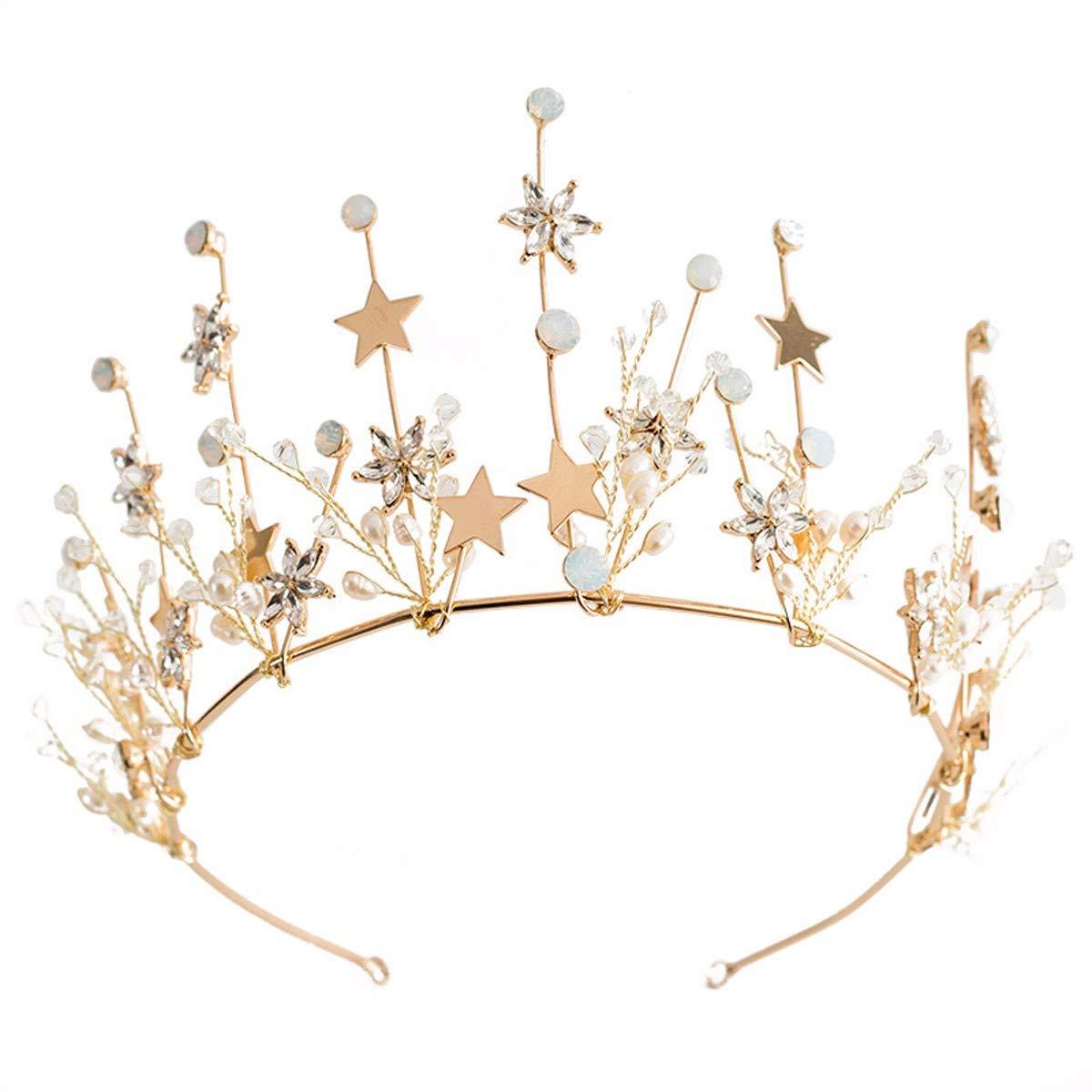 Wedding Crown, Beautiful headdress/Bridal Headwear Star Crown Golden Flower Crown Wedding Gauze Hair Accessories