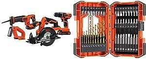 Black & Decker BD4KITCDCRL 20V MAX Drill/Driver Circular and Reciprocating Saw Worklight Combo Kit with BLACK+DECKER BDA46SDDD 46-Piece Screwdriver & Drill Bits Set
