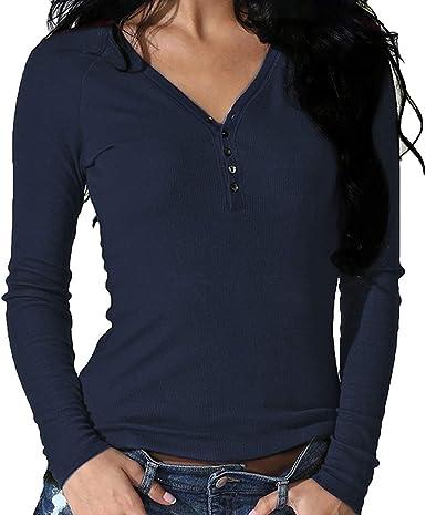 Smile Fish Camiseta de manga larga para mujer, sexy, cuello en V, manga larga, informal, elegante, elástica, Henley
