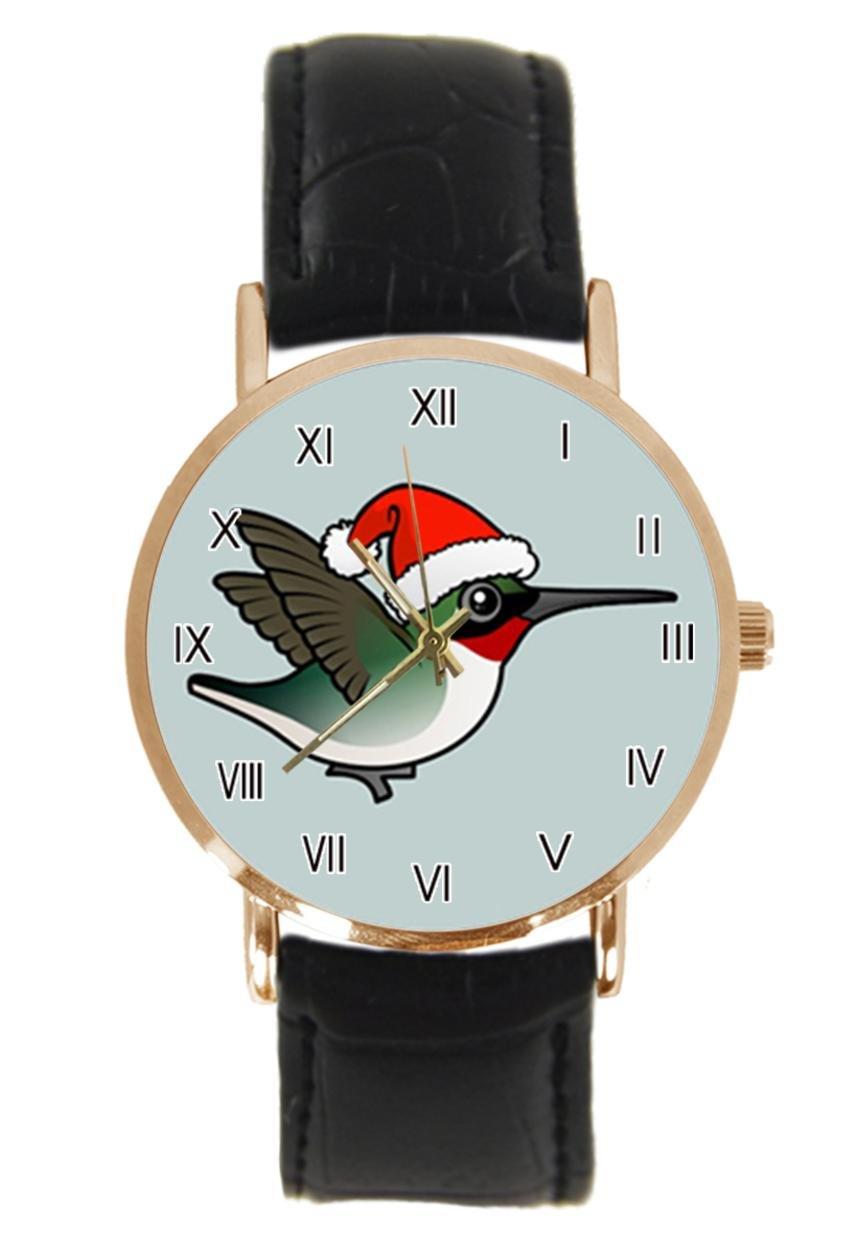 jkfgweeryhrt New Simple Fashion Christmas Ruby Steel Leather Analog Quartz Sport Wrist Watch
