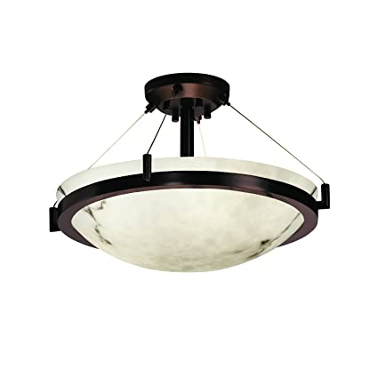 Justice design group lumenaria 3 light semi flush dark bronze finish with faux