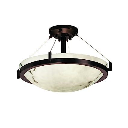 Justice design group lumenaria 3 light semi flush dark bronze finish with faux