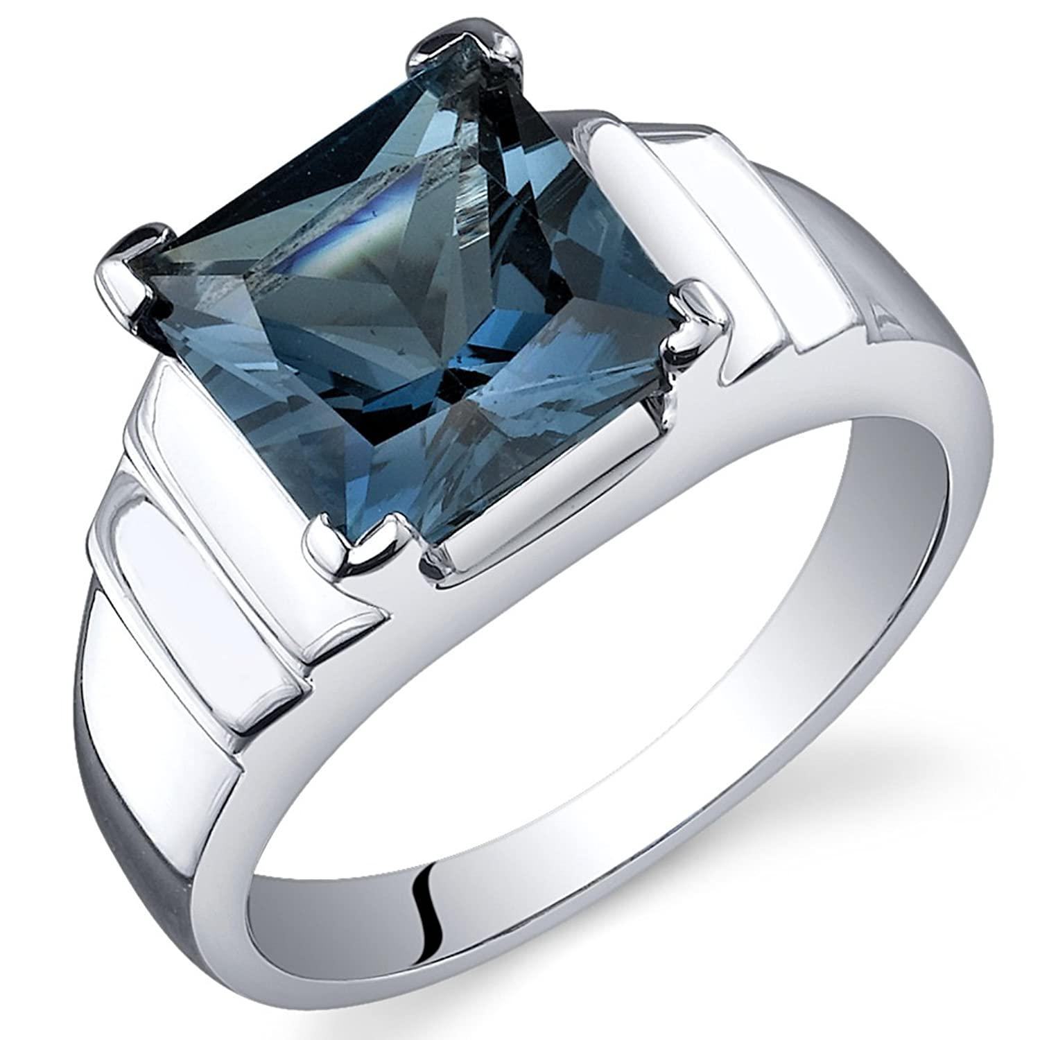 London Blue Topaz Princess Ring Sterling Silver Rhodium Nickel Finish 2.75 Carats Sizes 5 to 9