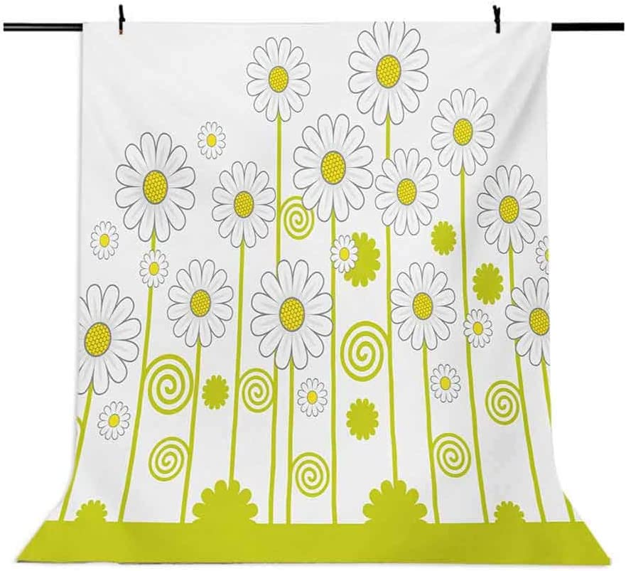 Floral 10x15 FT Backdrop Photographers,Daisy Flowers in a Sunny Day with Leaves Garden Cartoon Swirl Details Image Background for Baby Birthday Party Wedding Vinyl Studio Props Photography