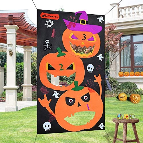 heytech Halloween Toss Games Pumpkin Bean Bag Toss Games + 3 Cute Bean Bags, Halloween Decorations Halloween Games for Kids Party
