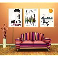 AKLIG Cuadros Lienzo de Pintura Moda Abstracta Londres Nueva York París para la Cocina del Dormitorio de la Sala de Estar, 50cm X 70cm X 3pcs (sin Marco)