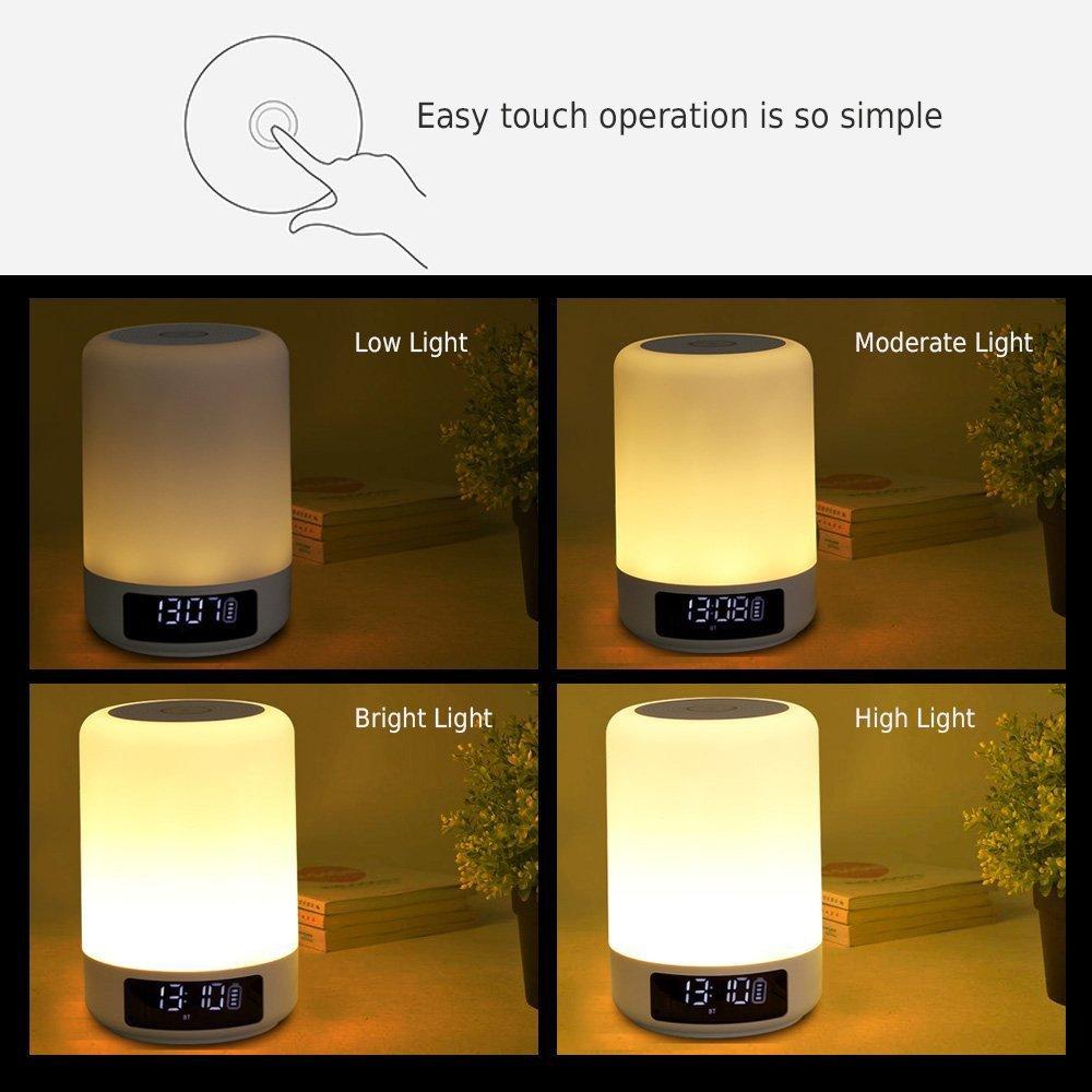 Ultima versión Keynice Lámpara de Noche Control Táctil, Lámparas de Escritorio con altavoz Bluetooth, Luz de Atmósfera, Luz Nocturna de Mesa para ...