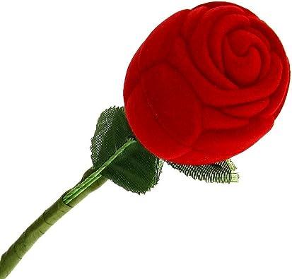 SODIAL(R) Caja Estuche para Anillo Forma de Rosa Rojo Verde Boda Regalo: Amazon.es: Joyería