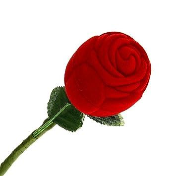 SODIAL(R) Caja Estuche para Anillo Forma de Rosa Rojo Verde Boda Regalo