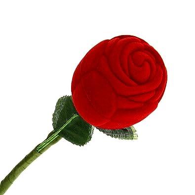 Caja Estuche para Anillo Forma de Rosa Rojo Verde Boda Regalo