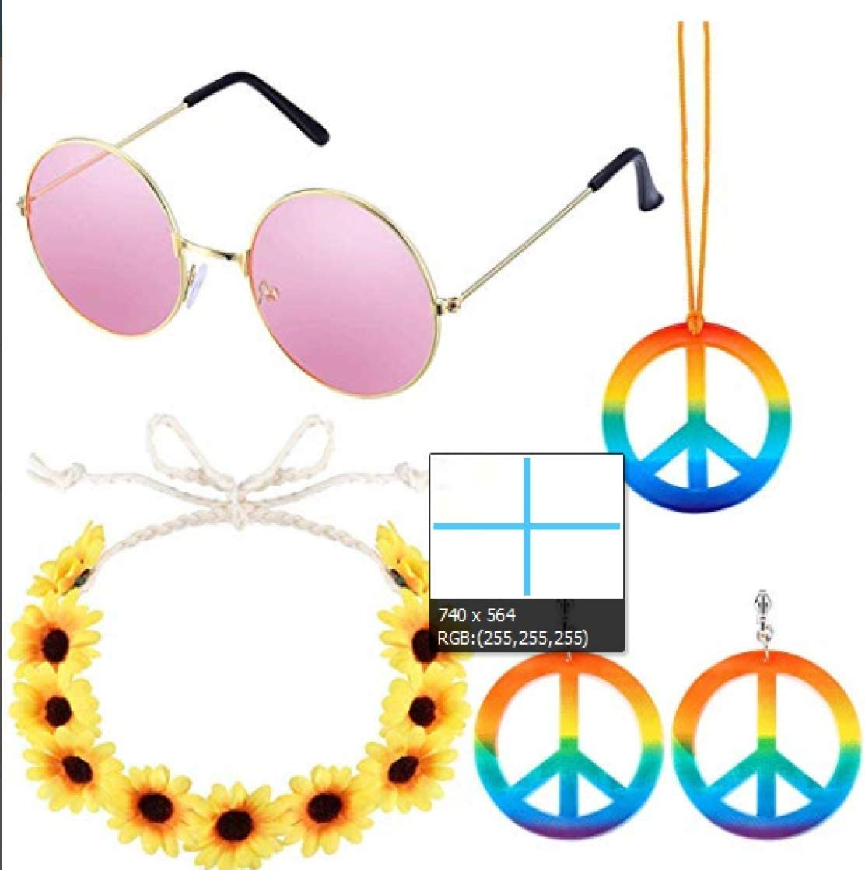 Xiaoyamyi 2019 Nuevo 5 Pack Hippie Traje Set - 60S Trajes Gafas de Sol Símbolo de Paz Collar y Pendientes, Girasol Corona Diadema y Símbolo de Paz PU Trenzado Brazalete para Hogar