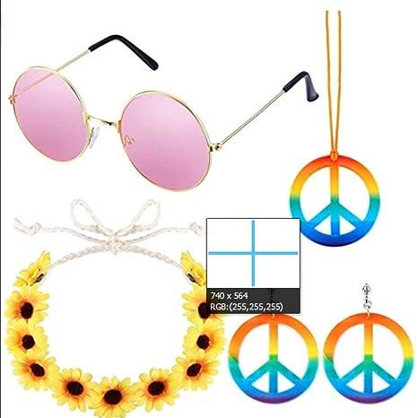 Xiaoyamyi 2019 Nuevo 5 Pack Hippie Traje Set - 60S Trajes ...