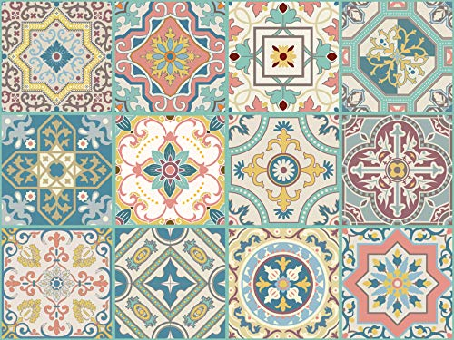 The Nisha 24 PC Pack Art Eclectic Peel and Stick Wall Sticky Backsplash Vinyl Waterproof Removable Tile Sticker Decals for Bathroom & Kitchen, 4x4 Inch, Venetian Beauty 1271 ()