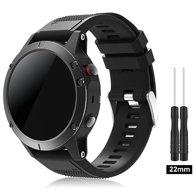 TOPsic Garmin Fenix 5 Banda, Silicona Reemplazo Correa con 2pzs Destornilladores para Garmin Fenix 5 / Forunner 935 Smart Watch, 13.5cm-22.5cm, no ...