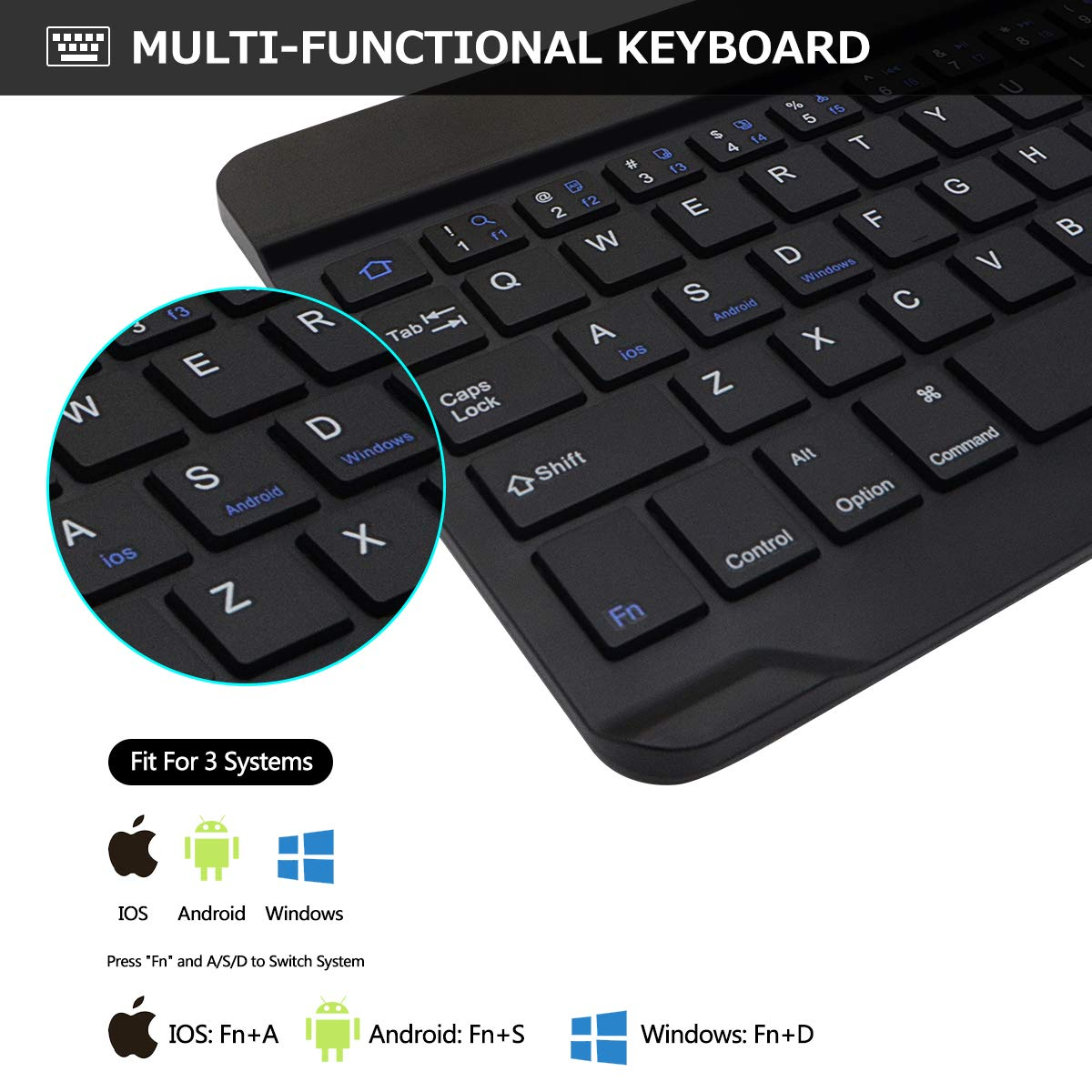 COO Detachable Wireless Bluetooth Keyboard Black with Backlit Keyboard - iPad Pro 2017 Magnetic Auto Sleep//Wake 6th Gen 5th Gen - iPad Air 2//1 iPad Keyboard Case 9.7 for New iPad 2018