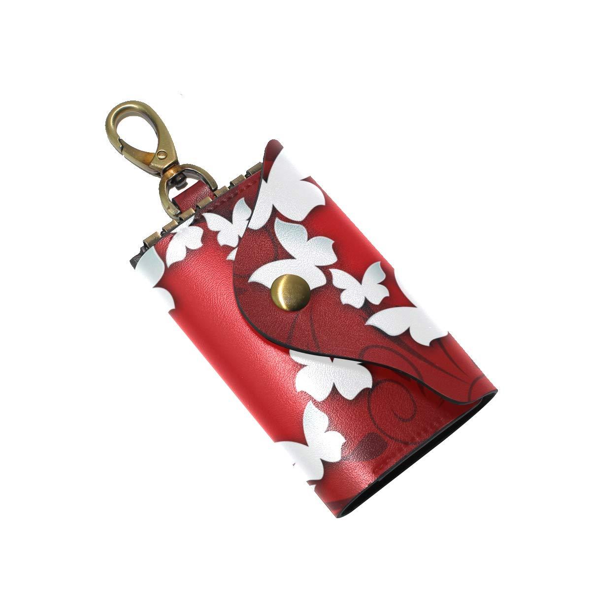 KEAKIA Butterflies Love Hear Leather Key Case Wallets Tri-fold Key Holder Keychains with 6 Hooks 2 Slot Snap Closure for Men Women