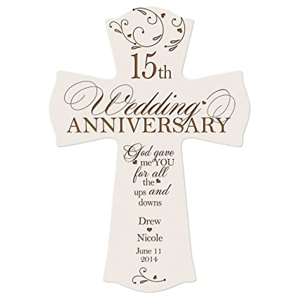 Amazon Personalized 15th Wedding Anniversary Wood Wall Cross