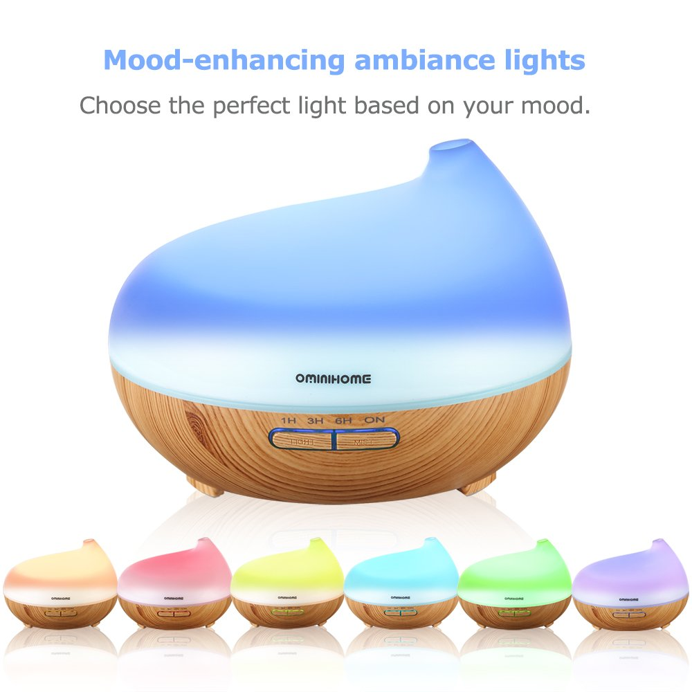 Ominihome Essential Oil Diffuser - 300ml Cool Mist Ultrasonic Wood Grain Humidifier - Whisper Quiet, Graduation Gift