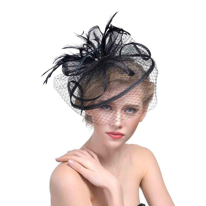 Gerilea Lady s Black Fascinators for Cocktail Hat for Evening Wedding  Accessory da396f97114