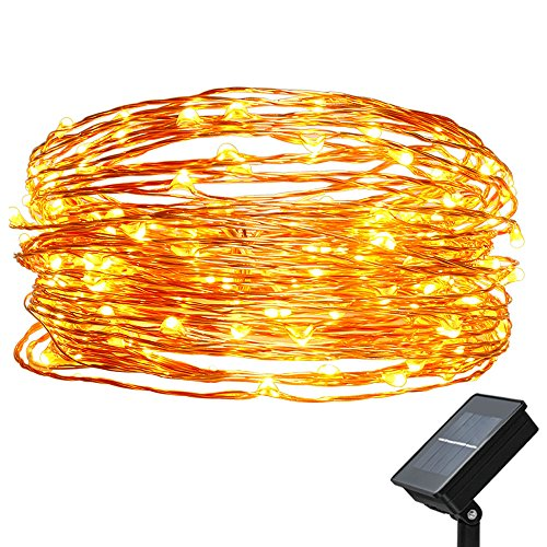 easyDecor Solar Powered String Lights 100 LED 33ft Waterproof Flexible Copper Wire Starry String Lights for Christmas Outdoor Patio Path Party Lawn Garden Wedding Party Holiday Decoration (Warm (Halloween Decorations On Clearance)