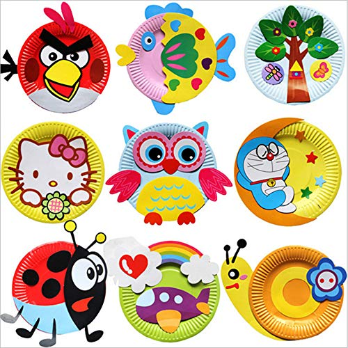 12pcs Toddler Paper Craft Art Kit |Cartoon Paper Plate Painting Handmade Material Package |DIY Creative Educational Handmade Paper Cups Preschool Crafts for Kids Boys Girls|Party Favor(Random Style)
