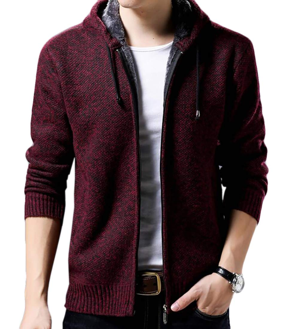 KLJR Men Thick Lined Full Zip Hooded Cardigan Sweaters Pockets