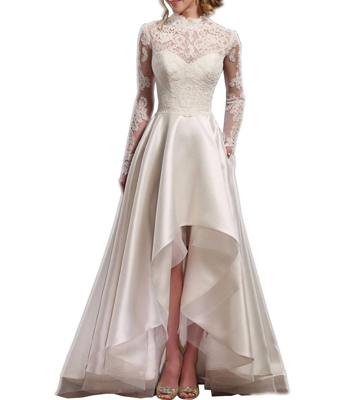 Alanre Women S Sheer High Neck Lace Long Sleeve Bride Wedding