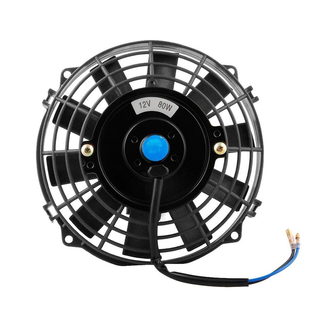 """Everpert - Ventilador para radiador de coche (7"""", gran potencia, 80 W, CC 12 V, ventilador de refrigeración, disipación de calor)"""
